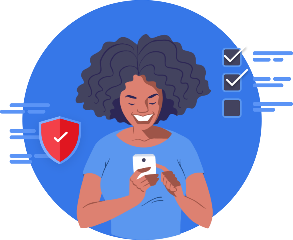Illustrated woman of color happy on mobile device setting privacy.