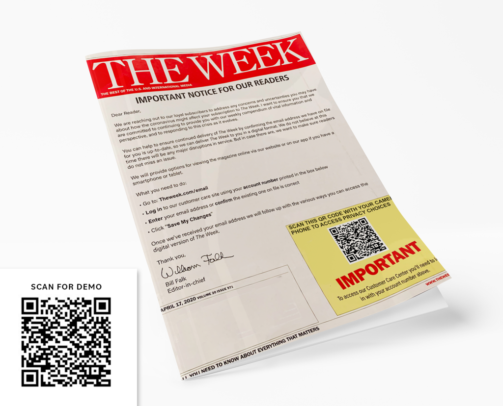 newsletter example with qr code