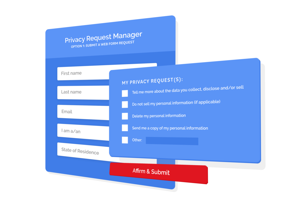 Privacy request manager web form tool illustration